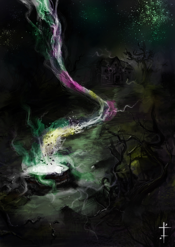 """Color Out of Space (2020Ludvik Skopalik's artwork based on H. P. Lovecraft's short story """"The Colour out of Space"""".)"""